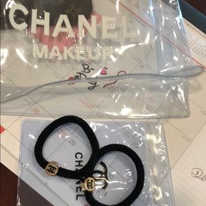 Accessories - Chanel makeup pouch & hair ties
